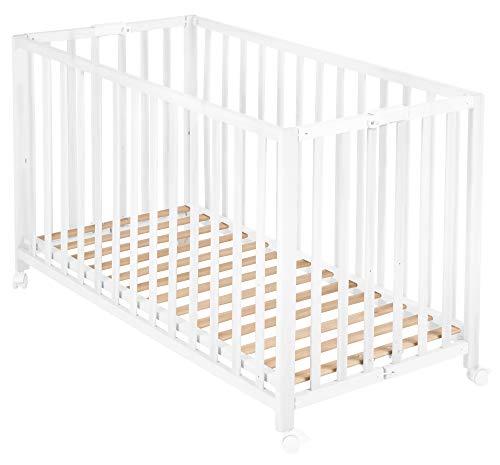 roba Klappbett 'Fold Up', Babybett 60x120 cm, Gitterbett Holz weiß, Bettchen 3-fach höhenverstellbar, platzsparendes Kinderbett inkl. Rollen zum Klappen