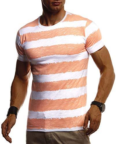 Leif Nelson Herren Sommer T-Shirt Rundhals Ausschnitt Slim Fit Baumwolle-Anteil Cooles Basic Männer T-Shirt Crew Neck Jungen Kurzarmshirt O-Neck Kurzarm Lang LN8319 Orange Large