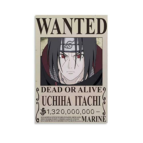 Anime Naruto Wanted Poster Uchiha Itachi Poster, dekoratives Gemälde, Leinwand, Wandkunst, Wohnzimmer, Poster, Schlafzimmer, Malerei, 20 x 30 cm