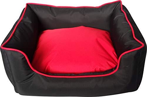 Classic Pet Products Hundebett, rechteckig, wasserdicht, Größe S, Schwarz/Rot