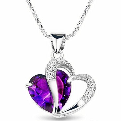"SODIAL(R) Rhodium Plaque Diamant Accent Amethyste Forme de Coeur Collier avec Pendentif 18"""