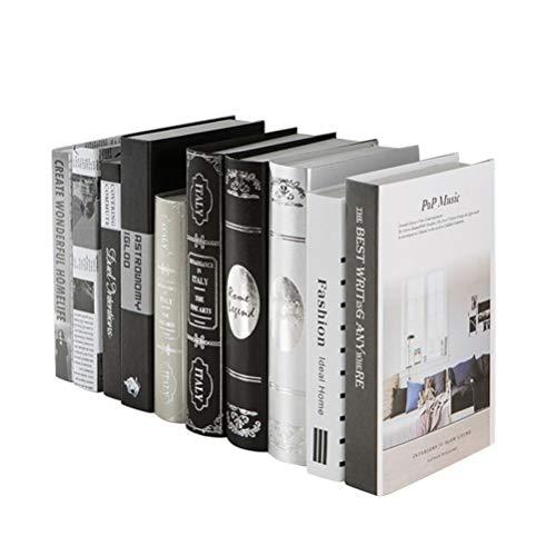 NICEXMAS 2 Pcs Conjunto de Livro Falso Artificial Estilo Moderno Livros Tiro Adereços Estante Decoração para Casa Escritório Loja de Chá (Padrão Aleatório)