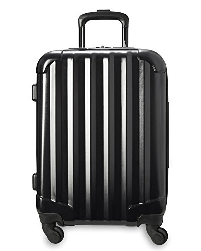 Genius Pack Hardside Luggage Spinner - Smart, Organized, Lightweight Suitcase - TSA Approved Cabin Size (Aerial - Jet Black)