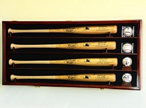 4 Baseball Bat & Ball Cabinet Display Case Wall Mount Bat Rack Cube Display (Cherry Wood Finish)