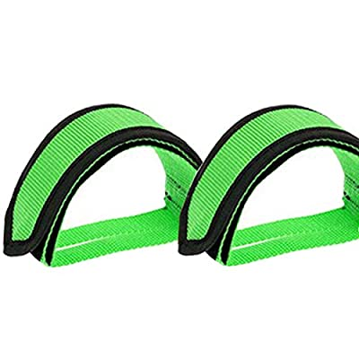 Qeedy Bike Pedal Straps Pedal 2 Pieces Universal Bicycle Feet Strap Pedal Straps Toe Clips Straps Tape for Fixed Gear Bike (Green)