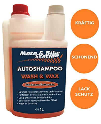 Moto & Bike Autoshampoo - 1000ml Pflegemittel mit Abperleffekt - Auto, Motorrad Reinigung und Lackschutz mit Aktiv-Schaum für Sommer und Winter - einzigartige Glanzformel - Made in Germany