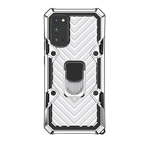 Funda para Samsung Galaxy S20 ultra suave, TPU ultra fina, carcasa rígida de PC [soporte de anillo de 360 grados] Funda protectora con carcasa magnética antigolpes para Samsung S20 Ultra (blanco)