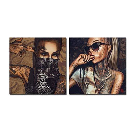 Leinwand Bedrucken Tätowierte Frau mit Brille und Maske Poster Wandkunst Bild Wohnkultur 2x60x60cm ohne Rahmen