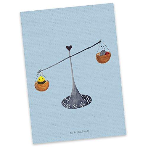 Mr. & Mrs. Panda Einladung, Ansichtskarte, Postkarte Sternzeichen Waage - Farbe Blau Pastell