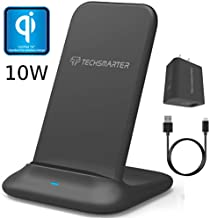 Techsmarter Fast Charging Wireless Charger Stand Dock, Qi Certified. Compatible with Apple iPhone 8,X,XR,XS,11 Samsung Galaxy S7,S8,S9,S10, Note 8,9,10, LG ThinQ V30, V35, V40, G6, G7,G8