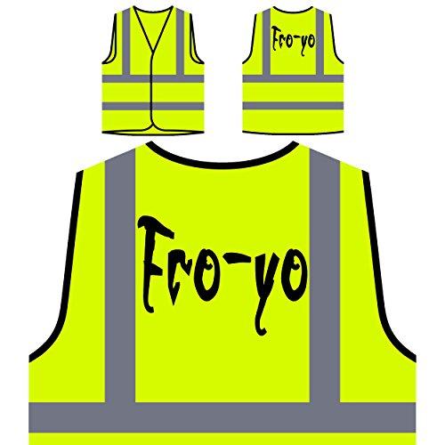 Fro-Yo lustige Neuheit Personalisierte High Visibility Gelbe Sicherheitsjacke Weste d434v