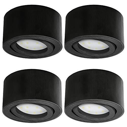 SSC-LUXon CELI-1B LED Aufbau Deckenleuchte schwarz gebürstet 4er Set - flach, rund & schwenkbar - Spot inkl. LED 5W warmweiß