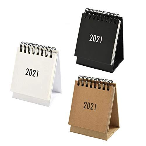 3 Pack Small Desk Calendar, October 2020 to December 2021 Mini Desktop Calendar, 4.3'×2.9' Monthly Standing Flip Calendar for Home, Office, School (3 Colors)