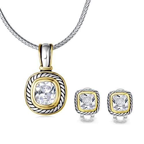 UNY Elegant Wedding Jewelry Sets CZ Crystal French Clip Earring Enhancer Pendant Designer Inspired (Clear)