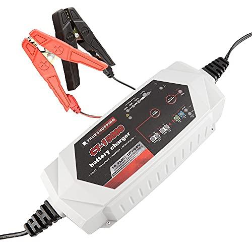 Cargador Mantenedor de Batería 12V/24V - Cargador Portátil Totalmente Automático de 15 Amp para Baterías de Plomo e Iones de Litio con Protección Contra Sobrecarga - Adecuado para Coches, Moto