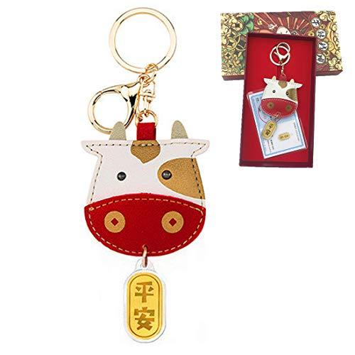 XIUNPR-6 2021 año nuevo llavero buey año llavero colgante metálico coches mascota accesorios de lujo regalo de año nuevo llavero de Feng Shui (Vaca bebé)