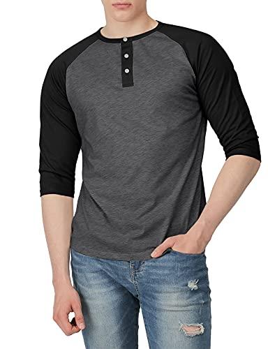 H2H Mens Casual Slim Fit Raglan Baseball 3/4 Sleeve Henley Premium T-Shirts...