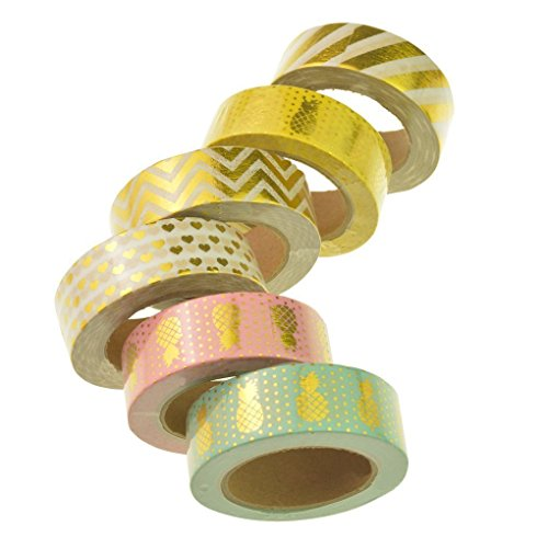 Washi Tape, Yookat Washi Masking Tape Set of 6 Rolls,Colorful Decorative Craft Tape Collection for DIY Crafts and Gift Wrapping, Office Party Supplies, Christmas, Cards, Scrapbook, Adhesive Tapes