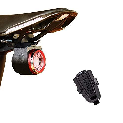 XIAOKOA Luces Traseras para Bicicletas,Alarma Inteligente de luz Trasera,Luces Traseras de Carga USB,Luz de Cola Impermeable,con Control Remoto Inalámbrico