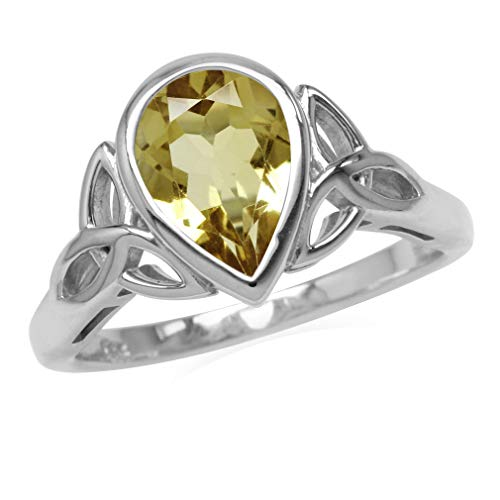Silvershake Genuine 1.6ct. 10X7mm Citrine 925 Sterling Silver Triquetra Celtic Knot Ring Size 6
