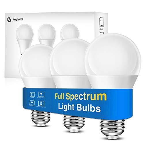 Full Spectrum Light Bulb, Cool White Happy Light Bulbs, Natural Sunlight Bulbs, A19, 6000K, 9W 60W Equivalent, E26/E27, Pack of 3