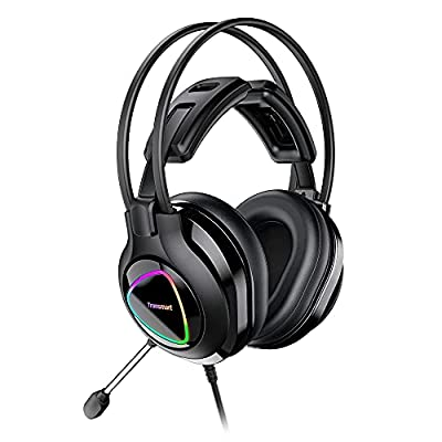 Tronsmart Gaming Headset Wired, headphones with mic usb, Flying Wing Head Beam Headphones,Crystal Clarity 3.5mm LED Noise Cancelling Volume Control Over ear Headphone with Microphone by Tronsmart