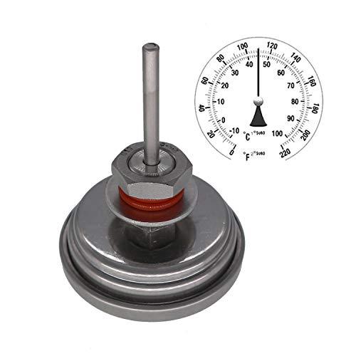 Homebew Weldless Bi-Metal Thermometer Kit, 3'Face...