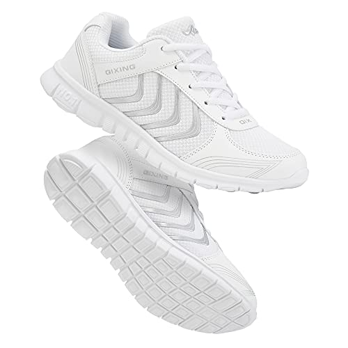 Alicegana Women's Athletic Road Running Lace up Walking Shoes Comfort Lightweight Fashion Sneakers Breathable Mesh Sports Tennis Shoes White