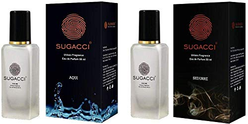 S SUGACCI Aqui Sedurre Perfume Combo Pack - Perfumes for Man - Perfumes for Woman - Eau de Parfum - 10 x More Perfume than Deodorant - 50ML x 2 Unisex Scent for Men and Women