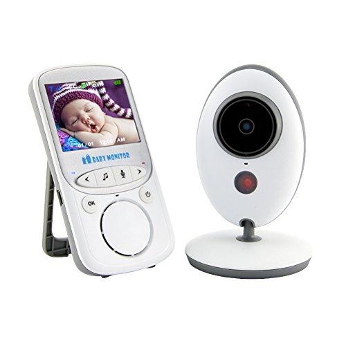 Babyphone mit Kamera,video babyphone, Wireless Video baby Monitor 2.4 Zoll LCD 2.4GHz Digital Baby Überwachung Digitalkamera mit Temperatursensor Schlaflieder Nachtsicht Gegensprechfunktion EU Plug