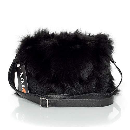 FOX FASHION Damen Umhängetasche mit Reißverschluss aus schwarz Fuchsfell Pelztasche Handtasche Fuchs Fell Pelz Fuchspelz Tasche Echtfell Felltasche Echt