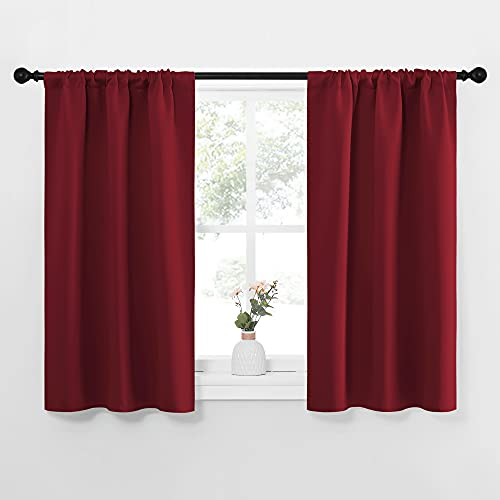 NICETOWN Burgundy Curtains Blackout Drape Panels - Lights Block Out Window Treatment Short Curtain Sets for Loft and Basement Decoration (Set of 2, 34 by 45-Inch)