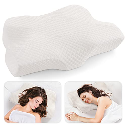 Lamberia Cervical Memory Foam Pillow, Neck Pillows for Pain Relief Sleeping, Ergonomic Orthopedic Sleeping Neck Contoured Support Pillow for Side Sleepers, Back and Stomach Sleepers