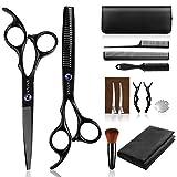 Ciseaux Coiffure Professionnel, Sunandy kit ciseaux coiffure 14 PCS, Ciseaux desepaississant en acier inoxydable avec cape de coiffeur, pour Salon Maison
