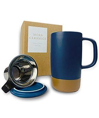 Mora Ceramics Large Tea Mug with Loose Leaf Infuser and Ceramic Lid, 18 oz, Portable, Microwave and Dishwasher Safe, Tall Coffee Cup - Rustic Matte Ceramic Glaze, Modern Herbal Tea Strainer, Deep Blue