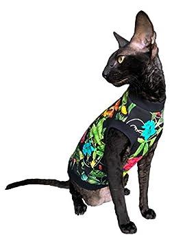 Kotomoda T-shirt sans poils pour chat en coton stretch Motif fleurs de nuit