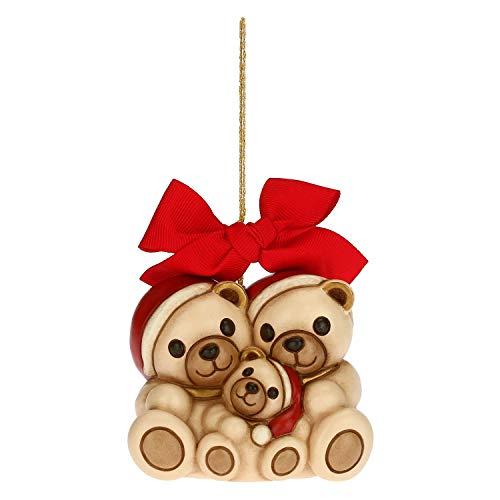 THUN - Addobbo per Albero di Natale Famiglia Orsetti - Decorazioni Natale Casa - Formato Maxi - Ceramica - 7,8 x 5,5 x 6,8 h cm