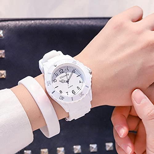 GWN Relojes de Mujer Relojes Deportivos de Cuarzo para Mujer Reloj de Marca Fresh para niños Blanco 34 * 8 mm
