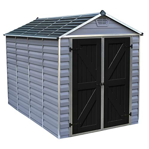 Rowlinson Palram Skylight Apex Shed 6x10ft, Storage, Grey and Black