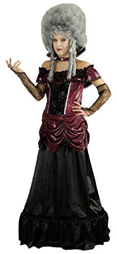 narrenkiste K31250573-44-46 Bordeaux-rot-schwarz Damen Vampirkleid Barockkleid Gr.44-46