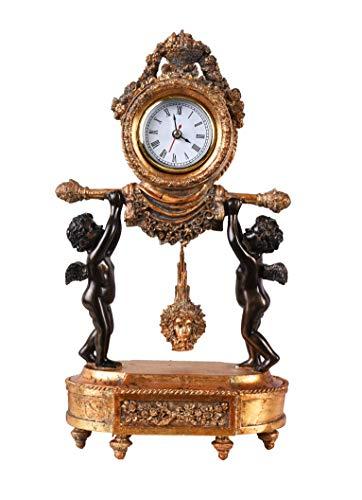 Königliche Tischuhr Zwei Engel im Empire Stil Kaminuhr mit Medusa Pendel Amoretten IS201 Palazzo Exklusiv