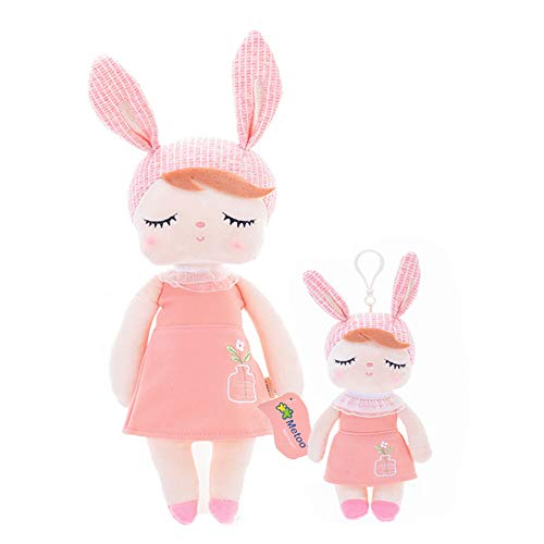 Me Too Baby Doll Girl Gifts Bunny Super Soft Plush Rabbit Toys 13' and 10'' 2pcs Set with Gift Box (Orange)