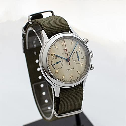 AMINIY Reloj De Tiempo De La Aviación Hombres Business Sapphire 1963 Reloj Mecánico Cronógrafo Cronógrafo Reloj Impermeable Macho (Color : 38mm)