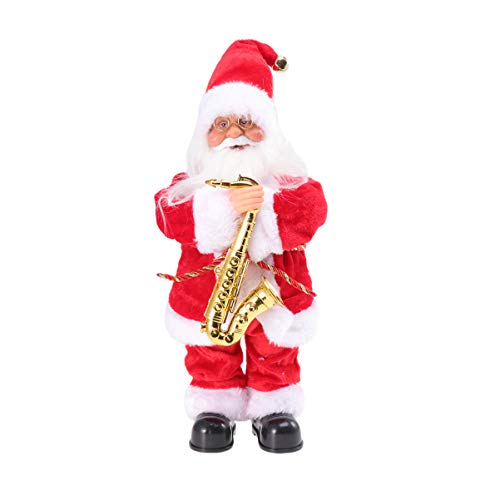 ABOOFAN Santa Claus Decoration Music Santa Claus Toy Electric Christmas Dolls Plush Santa Clause Doll Holiday Xmas Party Ornament (Saxphone)