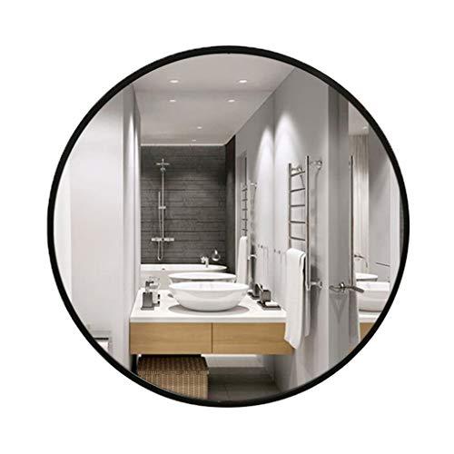 Miroirs de salle de bain Miroir De Salle De Bain Miroir Rond En Bois Massif Miroir De Chambre À Coucher Miroir De Maquillage Miroir De La Chambre (Color : Black, Size : Diameter 70cm(27inches))
