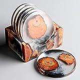 Untersetzer rund für Gläser 6er Set Ink. Halter - Design Glasuntersetzer für Getränke, Tassen, Bar, Glas - Tischuntersetzer Echtholz/Epoxidharz Dekorative (rund, Ø8,0 x 0,7 cm)