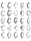 CASSIECA 25 Piezas Juego de Anillos Abiertos de Plata de Anillos de Dedo Ajustables Anillos Abierto de Nudo de Pie...
