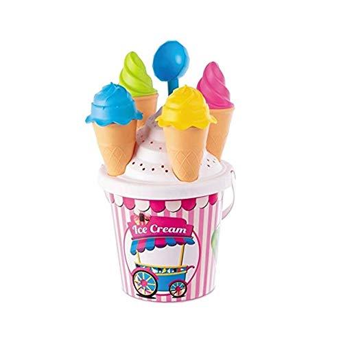 4 moldes de helados de cucurucho y una cuchara Se presenta decorado en rosa y blanco decorado con el dibujo de una heladería sobre ruedas Se recomienda la vigilancia de un adulto