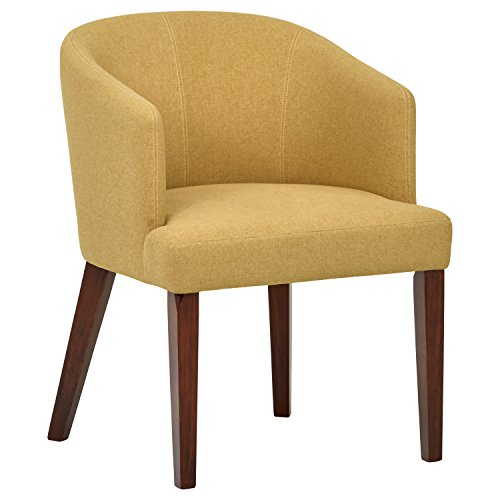 Rivet Alfred MidCentury Modern Wide Curved Back Accent Kitchen Dining Room Chair 252quotW Canary Yellow