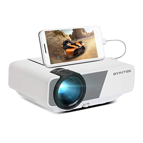 Aibecy Mini proyector 1080P compatible 160 lúmenes ANSI Tamaño de proyección de 200 pulgadas Cine en casa Proyector de video Pantalla de sincronización con cable Smartphone compatible PC portátil